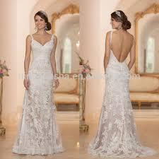 Wedding Dresses With Straps 2015 Sheath Wedding Dress Spaghetti Straps V Neckline