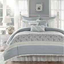 Ruffle Bed Set Gorgeous 9pc Shabby Elegant White Blue Green Grey Textured Ruffle