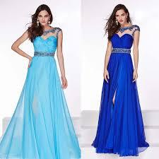 top design high slit floor length royal blue prom dresses beading