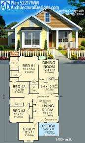 3 Bedroom Cabin Floor Plans by Plan 52217wm Carefree Cottage With Garage Option Cottage House