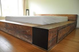 bed king size platform bed with drawers in wonderful simple king