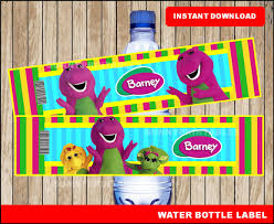 barney water bottle labels printable barney water barney party