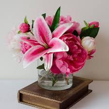 Artificial Flowers For Home Decoration Silk Pink Peonies Casablanca Lily Fuchsia Arrangement U2013 Flovery
