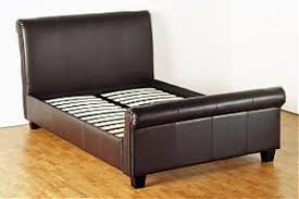King Size Leather Sleigh Bed Sleigh Brown Faux Leather King Size Bed Frame The Direct Bed Store