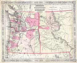 Montana State Map File 1864 Johnson Map Of Washington Oregon Idaho Wyoming