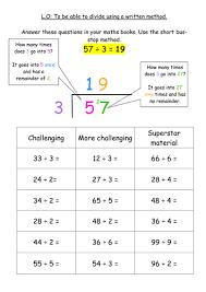 ks2 division written method bus stop method by jodieclayton