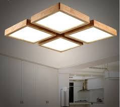Lamps For Dining Room Modern Brief Wooden Led Ceiling Light Square Minimalism Ceiling