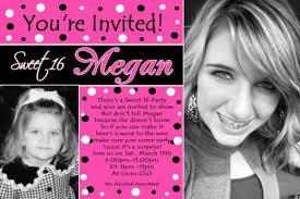 pink black white polka dot sweet 16 birthday invitations