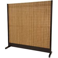black stained wooden movable room divider with seagrass woven