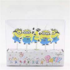 online shop 5pcs set yellow minions birthday craft candles cupcake