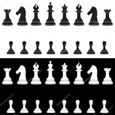 black and white chess pieces full collection u2014 stock vector
