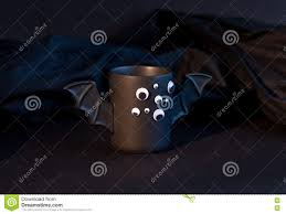 Bat For Halloween Cup Of Coffee As A Bat For Halloween With Eyes On Black Background