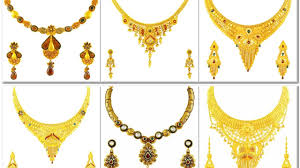 earring necklace set gold images Latest gold haram and necklace sets with matching earrings jpg