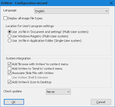 first start cancelling in configuration wizard xnview software
