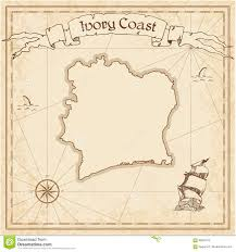 Ivory Coast Map Cote D Ivoire Old Treasure Map Stock Vector Illustration 90834073