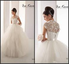 high neck ball gown vintage wedding dresses with lace bolero