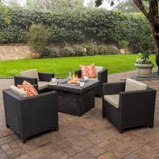 patagonia outdoor 5 pc wicker club chair set with firepit u2013 gdf studio