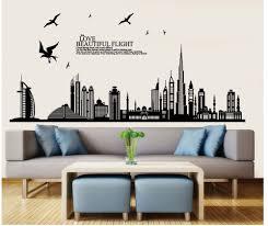Home Salon Decor Buildings Silhouette Wall Stickers Black Stencil Men Home Rooms