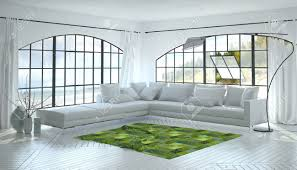 White Accent Rug Monochromatic White Living Room Interior With A Striking Green
