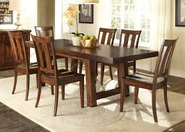 trestle dining table with solids rubberwood mahogany stain finish