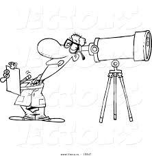 vector of a cartoon astronomer taking notes and peeking through a