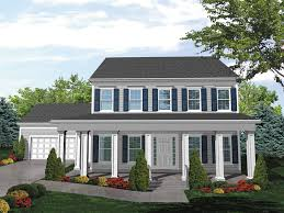 two story colonial house plans southern colonial two story house has covered porch for