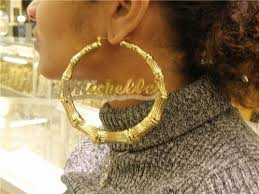 personalized name earrings lovely gold bamboo hoop name earrings jewellry s website