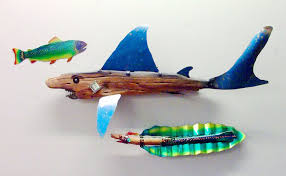 handmade sculpture home decor land shark drift wood by junk a