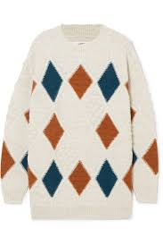 isabel marant étoile gink argyle alpaca blend sweater net a