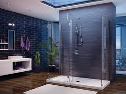 sophisticated glass shower enclosures with dark textural wall author