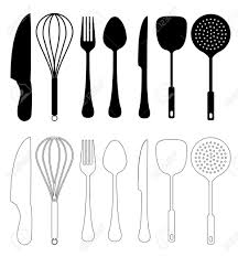 kitchen fabulous kitchen utensils silhouette charming vector