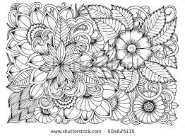 doodle floral drawing art therapy coloring stock vector 533833150