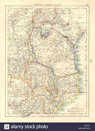 Africa Colonial Map by Colonial East Africa German British Portuguese East Africa Stock