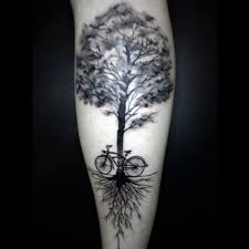 picture of bicycle and tree on the leg