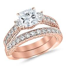 Rose Gold Wedding Ring by Amazon Com 1 53 Carat Classic Channel Set Wedding Set Bridal Band