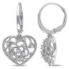 white gold dangle earrings 24ctw diamond 10k white gold heart dangle leverback earrings