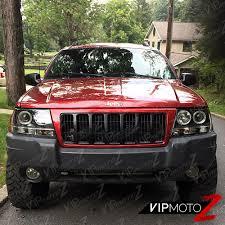 jeep black headlights 1999 2004 jeep grand cherokee wj wg black led halo angel eye