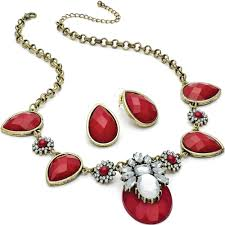 red antique necklace images Vintage antique style fashion jewellery ladies burnished gold jpg