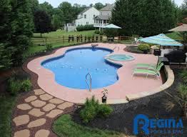 mountain lake shaped vinyl liner swimming pool with diving rock