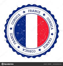 Blue Flag Stars In Circle Corsica Flag Badge Vintage Travel Stamp With Circular Text Stars