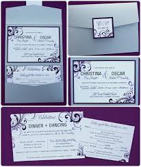 wedding invitation pocket envelopes modern eggplant lavender swirls vertical pocketfold wedding