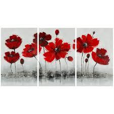 Overstock Com Home Decor Safavieh Works Of Art Red Poppy 3 Piece Canvas Art Overstock Com