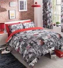 superking red grey london print bedding duvet set quilt cover bed set