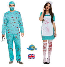 Bloody Nurse Halloween Costume Bloody Surgeon Nurse Costume Bloody Zombie Doctor Halloween Couple