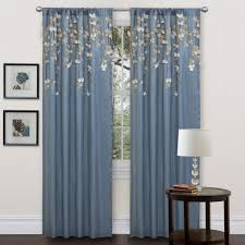 Amazon Living Room Curtains by Amazon Com Lush Decor Flower Drop Curtain Panel Blue Kitchen