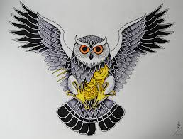 owl tattoo design for chest piece pen and ink steven barlow