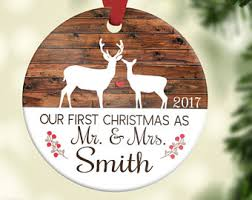 personalized wedding ornament rustic ornaments etsy
