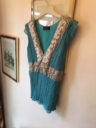 oui set new oui set silk blue embroidery lace embellished boho smock top
