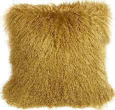 mongolian sheepskin soft gold 18x18 throw pillow pillow decor