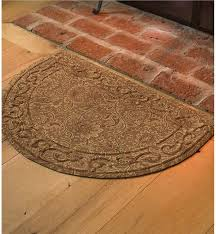 Brown Round Rugs Low Profile Microfiber Half Round Rug Hearth Rugs
